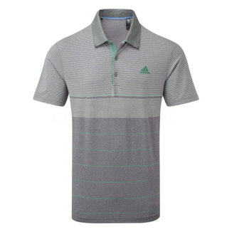 adidas Ultimate 365 Heather Stripe Golf Polo Shirt Grey/True Green DT3678