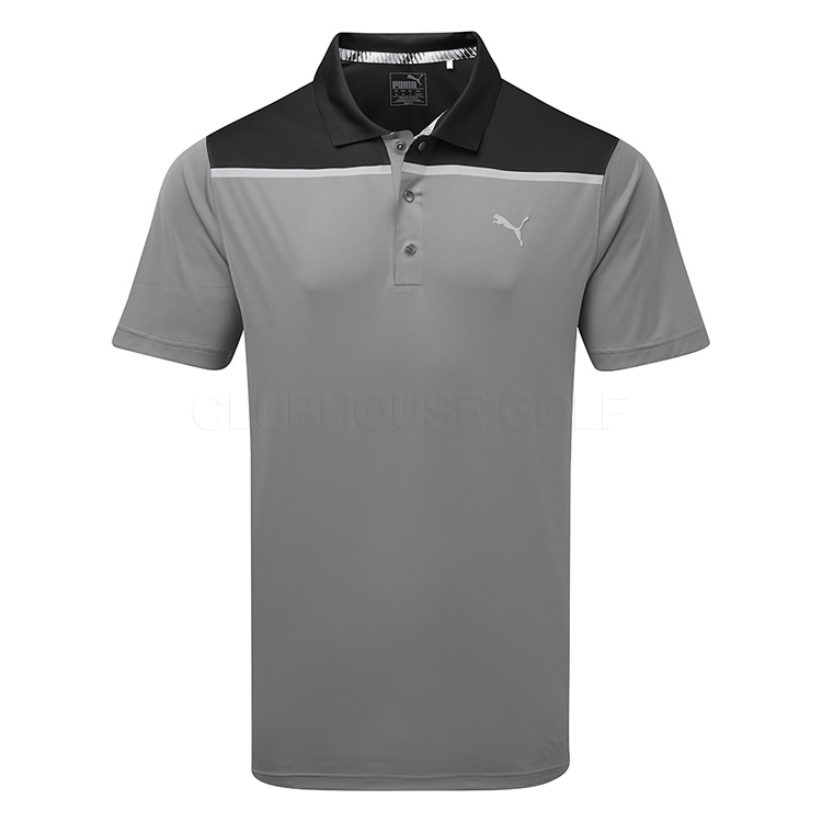 a1081386 Puma Bonded Colourblock Golf Polo Shirt Quiet Shade - Clubhouse Golf