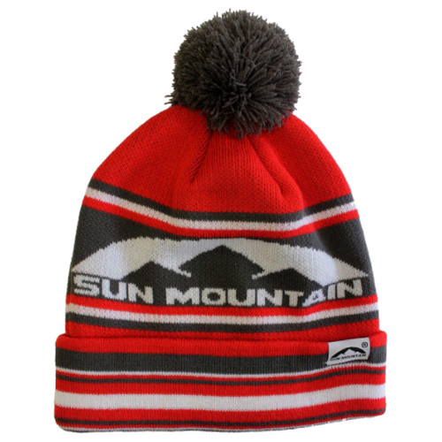 2e2a150f24a Sun Mountain Bobble Golf Beanie Red Grey White - Clubhouse Golf