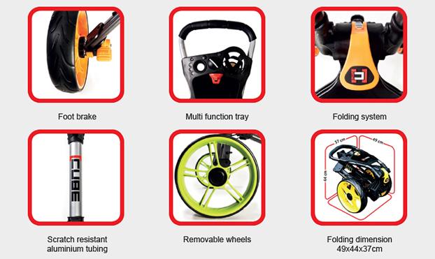 Cube Cart 3.0 Carrito de golf de 3 ruedas Carbón / Negro Información técnica