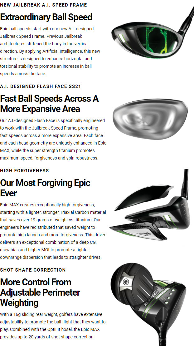 Callaway Epic Max Golf Driver Tech Info