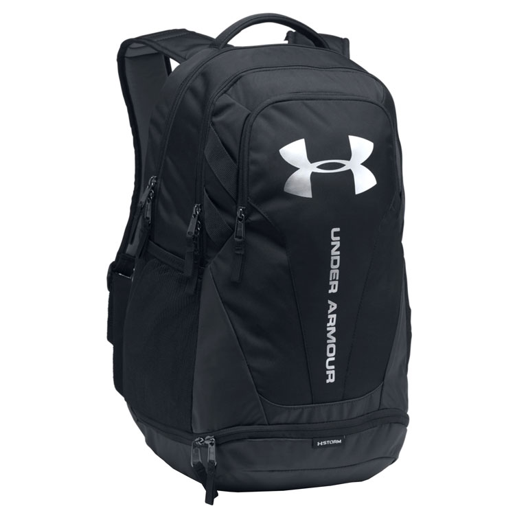 daf250cb8eb0 Under Armour Hustle 3.0 Golf Back Pack Black Black Silver 1294720-001. Double  tap to zoom