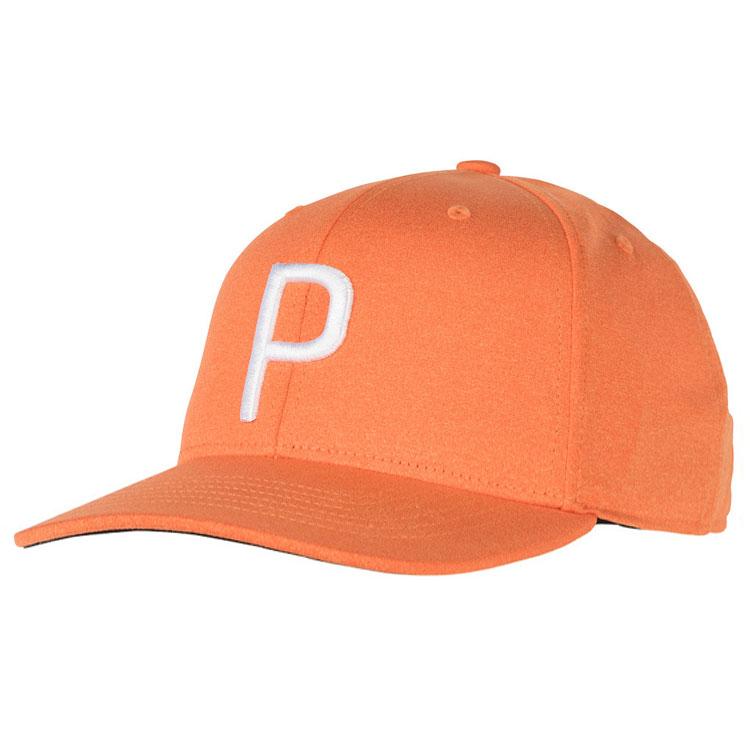 the latest 579dd ee93e Puma P Snapback Golf Cap Vibrant Orange Heather 021448-05