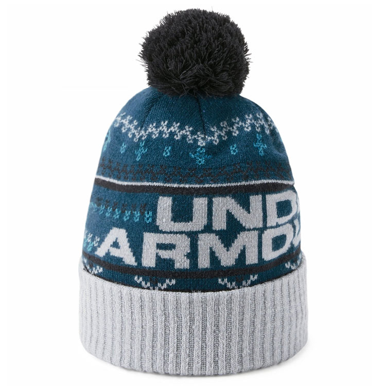 Under Armour Retro Pom 3.0 Golf Beanie Techno Teal Overcast Gray  1318515-489. Double tap to zoom aedbbf41cc8f
