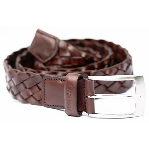 stromberg woven leather golf belt brown clubhouse golf